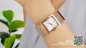 นาฬิกา Julius JA 841 หน้าปัดเหลี่ยม ผู้หญิง สีพิ้งโกล รุ่นแนะนำ ของแท้ส่งฟรี มีบริการเก็บเงินปลายทาง