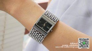นาฬิกา Julius JA 435 หน้าปัดเหลี่ยม ผู้หญิง สายเก๋ ๆ สีเงิน-ดำ รุ่นแนะนำ ของแท้ส่งฟรี มีบริการเก็บเงินปลายทาง